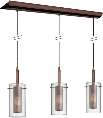 "Dainolite 3 Lite Oil Brushed Bronze Pendant 35"" Long Canopy Clear Glass With Mesh Insert Black Wire 30963-CM-OBB - Peazz.com"