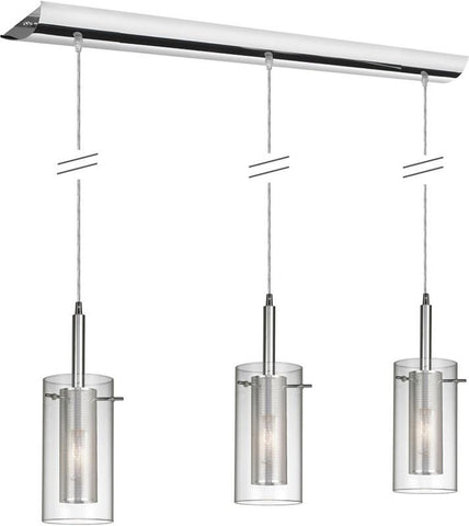"Dainolite 3 Lite Polished Chrome Pendant 35"" Long Canopy Clear Glass With Mesh Insert  Silver Wire 30963-CM-PC - Peazz.com"