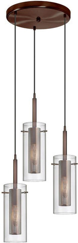 Dainolite 3 Lite Oil Brushed Bronze Pendant Round Canopy Clear Glass With Mesh Insert Black Wire 33963R-CM-OBB - Peazz.com
