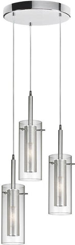 Dainolite 3 Lite Polished Chrome Pendant Round Canopy Clear Glass With Mesh Insert Silver Wire 33963R-CM-PC - Peazz.com