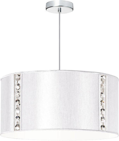 Dainolite 3 Lite Polished Chrome Round Pendant With Silk Glow Pearl Drum Shade w/ 840 Diffuser & Octagonal Crystal Accents 571898-840-PC - Peazz.com