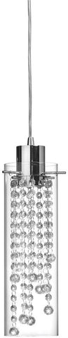 Dainolite 1 Lite Polished Chrome Pendant Clear Glass Clear Optical Crystal 90621P-PC - Peazz.com