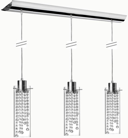 Dainolite 3 Lite Polished Chrome Rectangular Pendant Glass Clear Optical Crystal 90623P-PC - Peazz.com