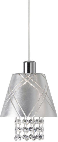 Dainolite 1 Lite Polished Chrome Pendant With Silver Leaf Shade Clear Crystal 925-1P-PC - Peazz.com