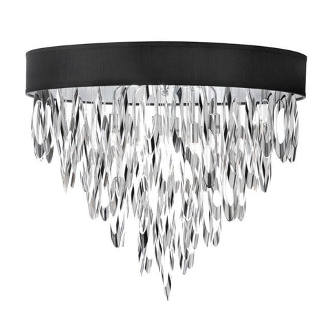 Dainolite ALL-164FH-PC-BLK (K)4 Light Flush Mount Chandelier w/BLK Shd - Peazz.com