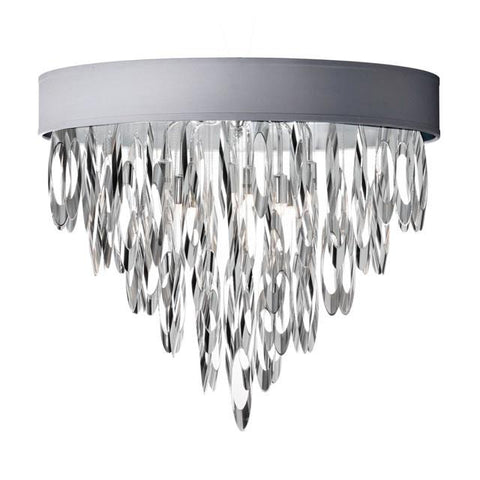Dainolite ALL-164FH-PC-SV (K)4 Light Flush Mount Chandelier w/SV Shd - Peazz.com
