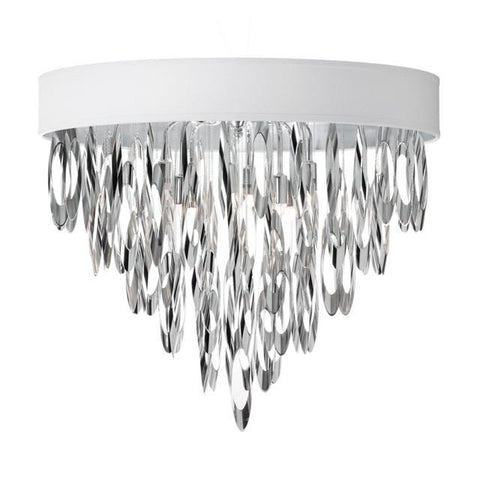 Dainolite ALL-164FH-PC-WH (K)4 Light Flush Mount Chandelier w/WH Shd - Peazz.com