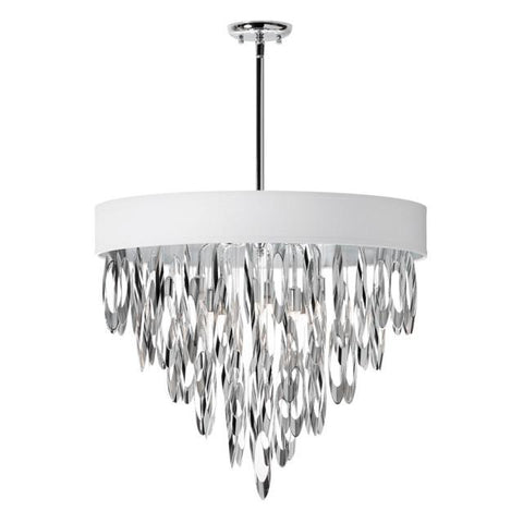 Dainolite ALL-248C-PC-WH (K)8 Light Chandelier w/WH Shade - Peazz.com