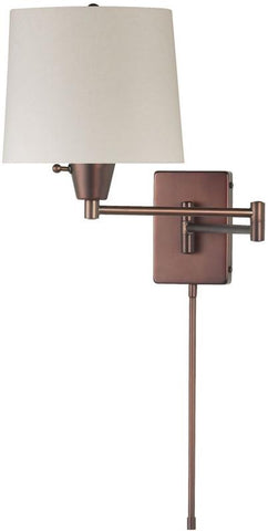 Dainolite 1 Lite Oil Brushed Bronze Swing Arm Wall Light Cream Linen Shade DWL80DD-OBB - Peazz.com
