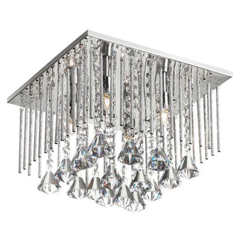 Dainolite JAC-124FH-PC 4 Light Crystal Square Flush Mount - Peazz.com