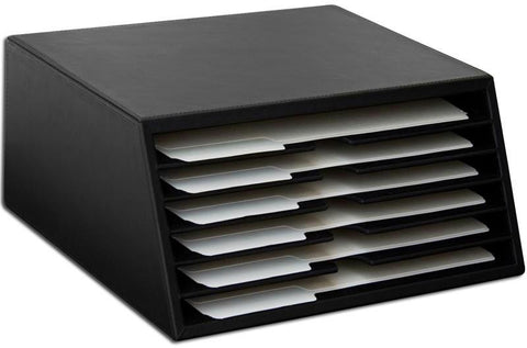 Black Leather 6-Tray File Sorter A1097 by Decasso - Peazz.com