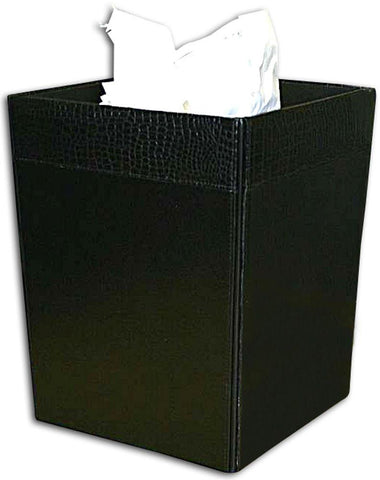 Crocodile-Embossed Leather Square Waste Basket A2203 by Decasso - Peazz.com