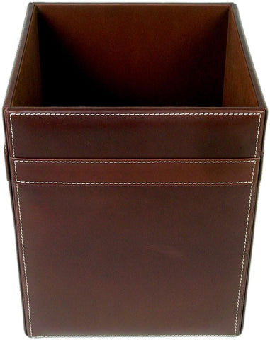 Rustic Leather Square Waste Basket A3203 by Decasso - Peazz.com