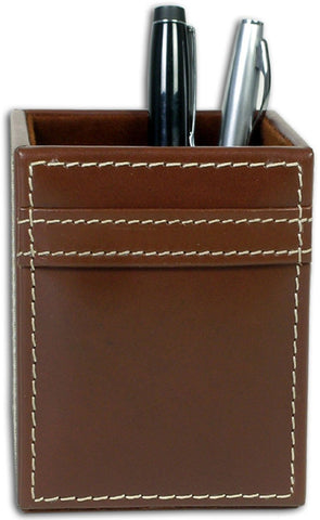 Rustic Leather Pencil Cup A3210 by Decasso - Peazz.com