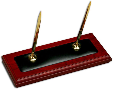 Wood & Leather Double Pen Stand A8004 by Decasso - Peazz.com