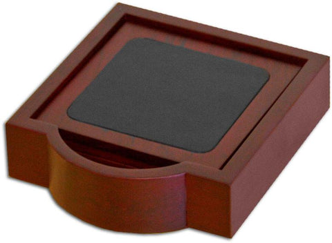 Wood & Leather 4 Square Coaster Set with Holder A8045 by Decasso - Peazz.com
