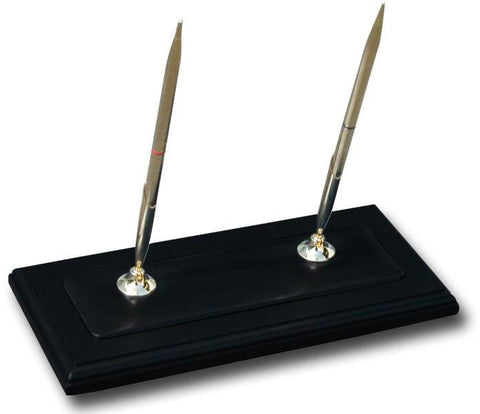 Wood & Leather Double Pen Stand A8204 by Decasso - Peazz.com