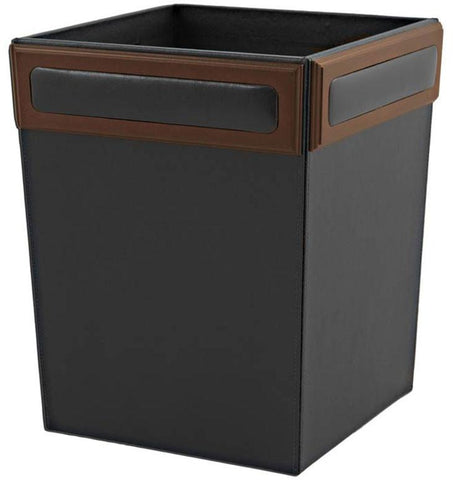 Wood & Leather Square Waste Basket A8403 by Decasso - Peazz.com