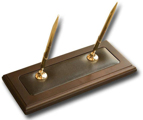 Wood & Leather Double Pen Stand A8404 by Decasso - Peazz.com