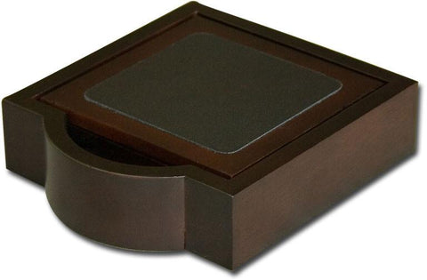 Wood & Leather 4 Square Coaster Set with Holder A8445 by Decasso - Peazz.com