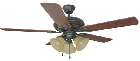 "Design House 153791 #153791 Bristol 3 Light Ceiling Fan 52"" Oil Rubbed Bronze Oil Rubbed Bronze - Peazz.com"