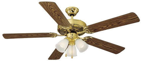 "Design House 153940 Millbridge 52"" Pb Ceil Fan Ep Polished Brass - Peazz.com"