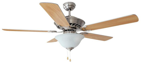 "Design House 153973 #153973 Monte Carlo 3 Light/Bowl Ceiling Fan 52"" Satin Nickel Satin Nickel - Peazz.com"
