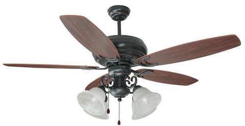 "Design House 154005 #154005 Drake 4 Light Ceiling Fan 52"" Oil Rubbed Bronze Oil Rubbed Bronze - Peazz.com"