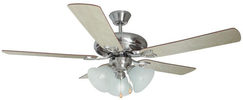 "Design House 154013 #154013 Bristol 3 Light Ceiling Fan 52"" Satin Nickel Satin Nickel - Peazz.com"