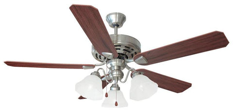 "Design House 154161 Barcelona 52"" 3Light Ceiling Fan Satin Nickel - Peazz.com"