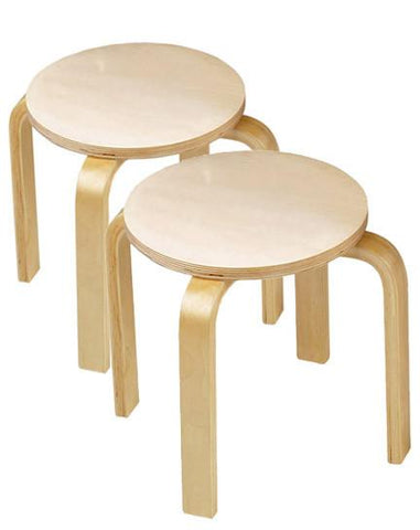 Anatex ST5004 Wooden Sitting Stools - Set of 2 - Peazz.com