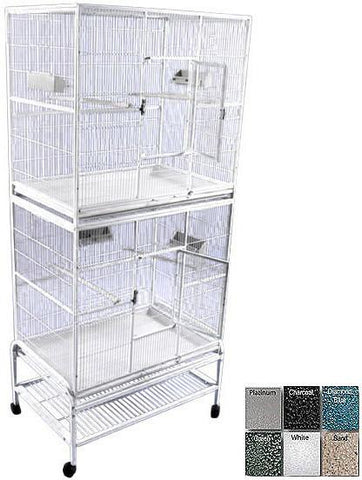 "A&E Cage 13221-2 White 32""x21"" Double Stack Flight Cage - Peazz.com"