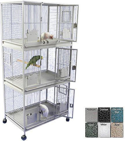"A&E Cage 3624-3 Black 36""x24"" Triple Stack Cage - Peazz.com"