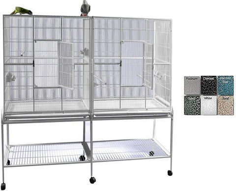 "A&E Cage 6421 Sandstone 64""x21"" Double Flight Cage with Divider - Peazz.com"