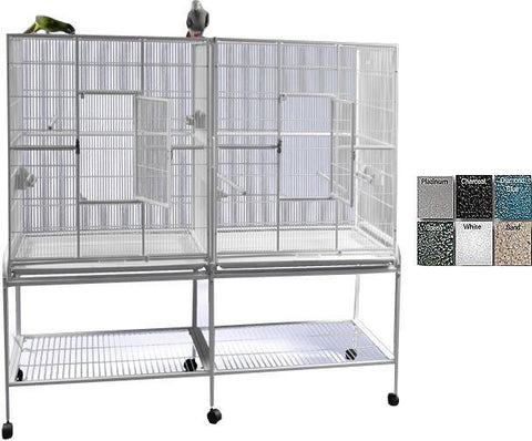 "A&E Cage 6421 White 64""x21"" Double Flight Cage with Divider - Peazz.com"