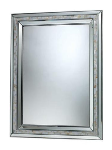 Dimond DM1948 Sardis Mirror In Brushed Steel And Mother Of Pearl Shell - Peazz.com