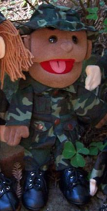 "14"" Army Boy Glove Puppet Black - Peazz.com"