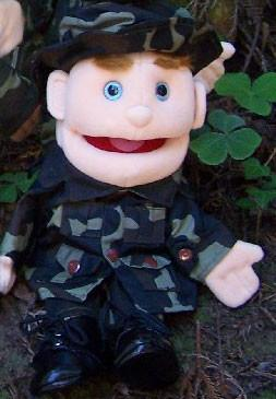 "14"" Army Boy Glove Puppet w/ Blue Eyes - Peazz.com"