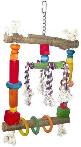 A&E Cage HB117 Natural Wood Swing with Rope - Peazz.com