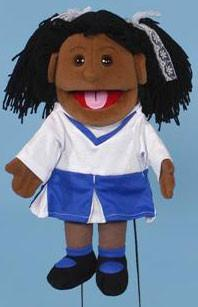 "14"" Cheerleader Girl Puppet Black - Peazz.com"