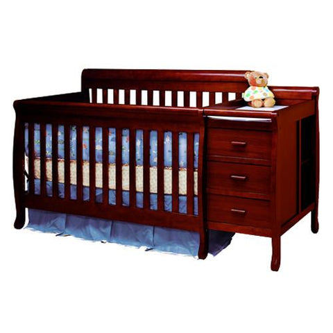 AFG Athena Kimberly Convertible Crib and Changer Combo in Cherry 516C - Peazz.com