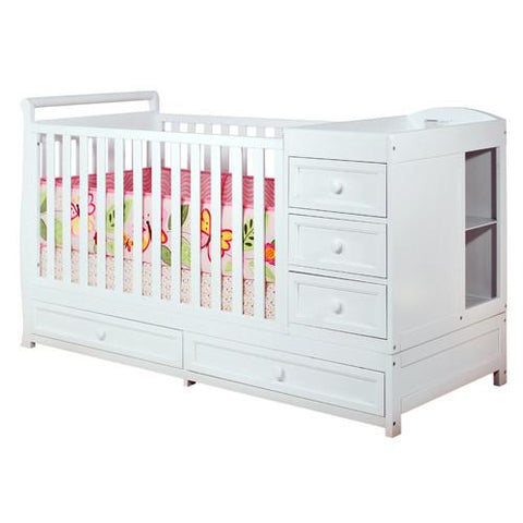 AFG Athena Daphne 2 in 1 Crib and Changer Combo in White 661W - Peazz.com