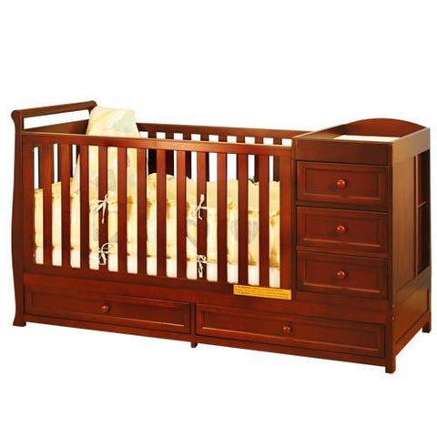 AFG Athena Daphne 2 in 1 Crib and Changer Combo in Cherry 662C - Peazz.com