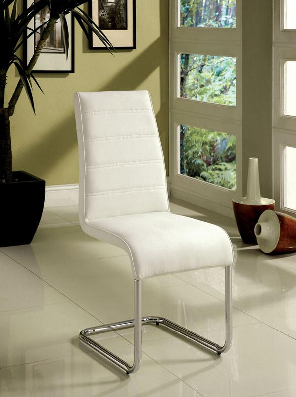 Dining Chair White Leatherette Modern