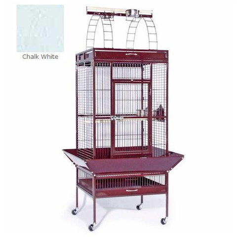 Large Select Wrought Iron Play Top Cage - Chalk White - Peazz.com