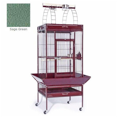 Large Select Wrought Iron Play Top Cage - Sage Green - Peazz.com