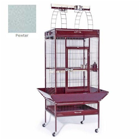 Large Select Wrought Iron Play Top Cage - Pewter - Peazz.com