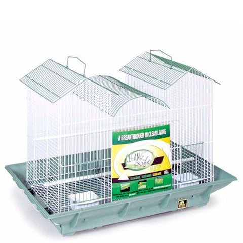 Clean Life Triple Roof Bird Cage - Green & White - Peazz.com