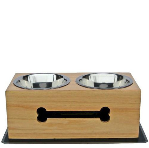 Wooden Bone Elevated Dog Bowls - Small - Peazz.com