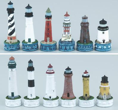 Fame 0068 East Coast and Great Lakes Lighthouses Chess Set Pieces - Peazz.com